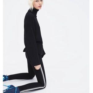 ZARA • Black High-Rise Stretch Skinny Stripe Jeans